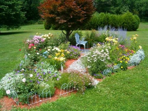 Garten elegant arrangiert gartengestaltung stuhl baum