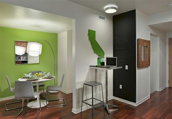 Schultafel Esszimmer interessant wand grün hocker