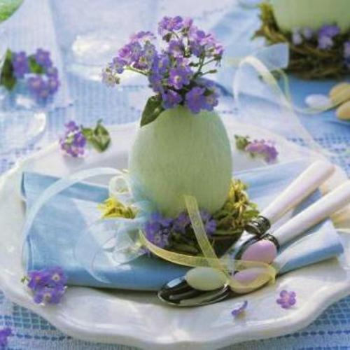 Tischdeko  Ostern eierschale blümchen lila