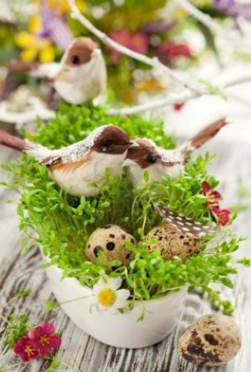 Tischdeko  Ostern eierschale küken gras