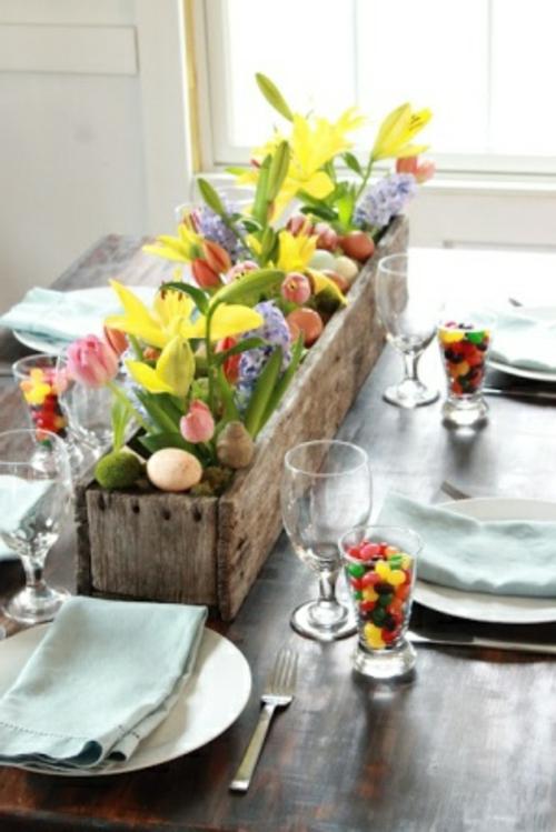 Tischdeko  Ostern eierschale kasten holz gläser