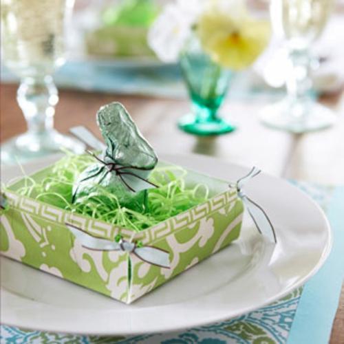 Tischdeko Ostern eierschale nest grün