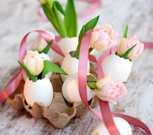 Tischdeko  Ostern eierschale schleife rosa schale