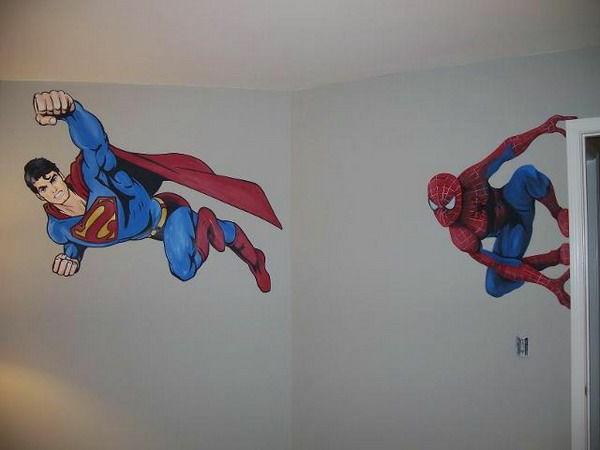 Wanddeko mit Fototapeten spiderman superman weiß wand