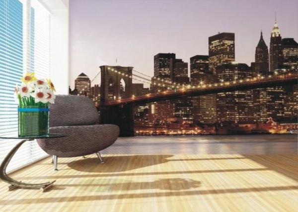 Wanddeko mit Fototapeten wohnzimmer stadt straßen brücke