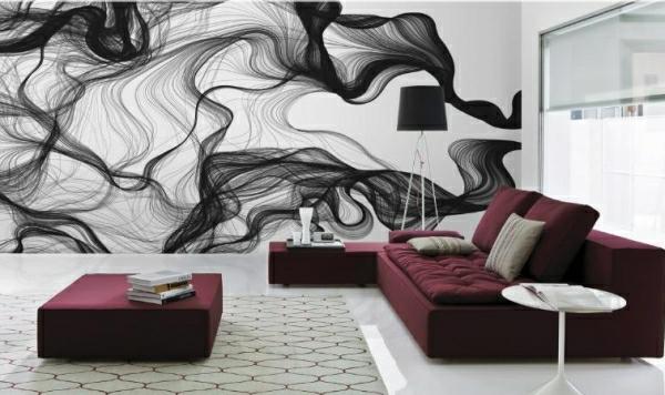 Wandgestaltung mit Fototapeten abstrakt muster schwarz weiß