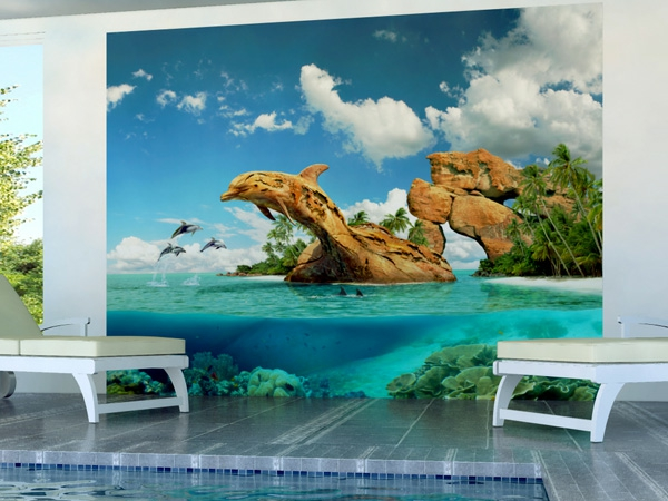 Wandgestaltung mit Fototapeten felsen meer strand delfine