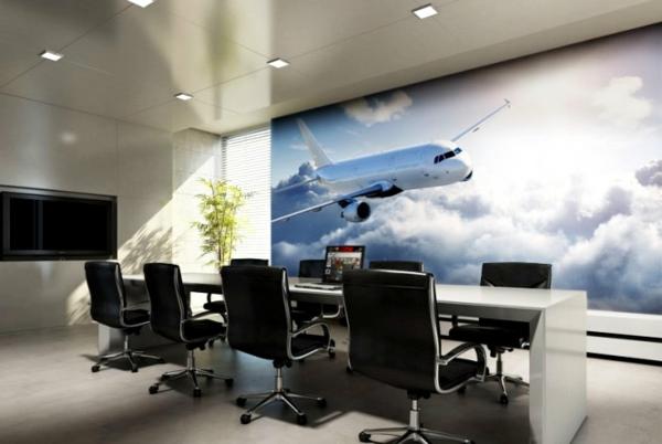 Wandgestaltung  Fototapeten flugzeug besprechung zimmer