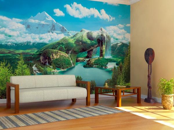Wandgestaltung mit Fototapeten gebirge frau körper sofa