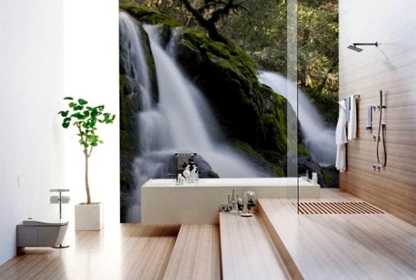 Wandgestaltung mit Fototapeten glas minimalistisch fußboden