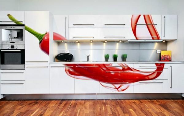 Wandgestaltung-mit-Fototapeten-küche-möbel-thematisch-tattoo