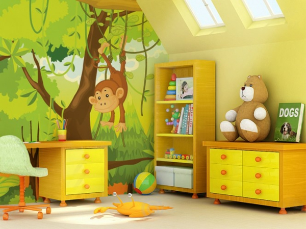 Wandgestaltung lebhafte farben Fototapeten kinderzimmer schrank kommode