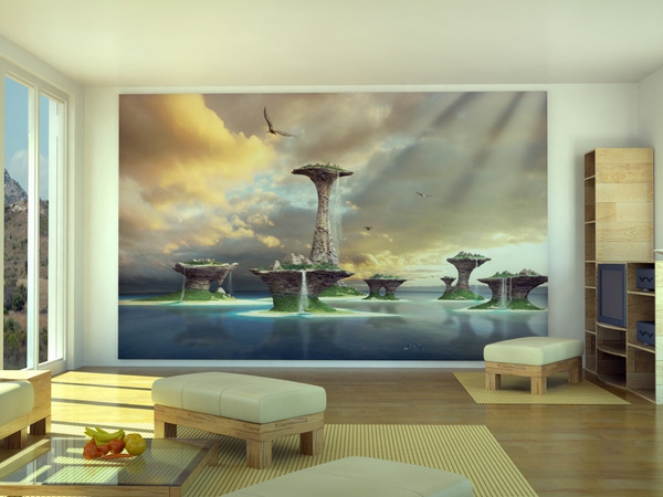 Wandgestaltung mit Fototapeten minimalistisch warm ambiente