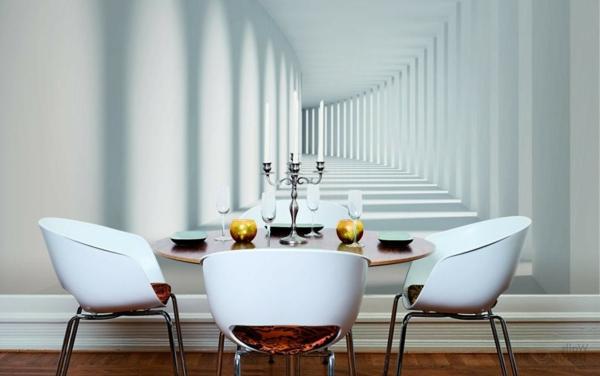 Wandgestaltung mit Fototapeten modern esszimmer
