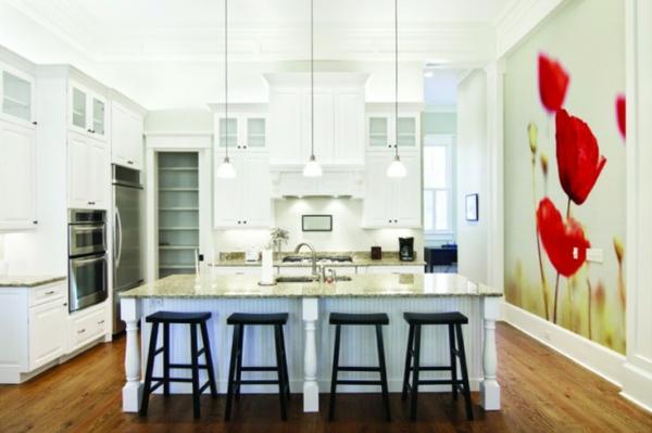 Wandgestaltung mit Fototapeten modern küche esszimmer