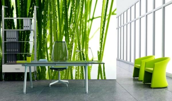 Wandgestaltung mit Fototapeten natur grün schreibtisch