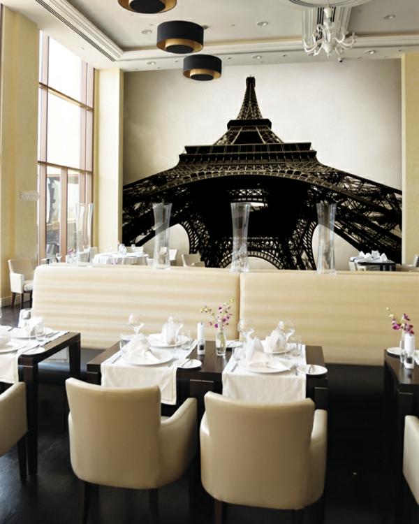 Wandgestaltung mit Fototapeten restaurant französsisch stil