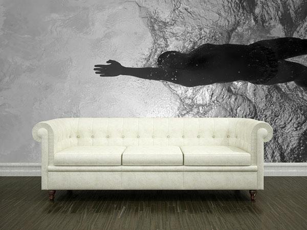 Wandgestaltung  Fototapeten schwimmen sofa polsterung