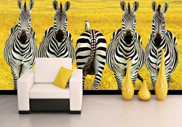 Wandgestaltung Fototapeten sessel bodenvase gelb zebras