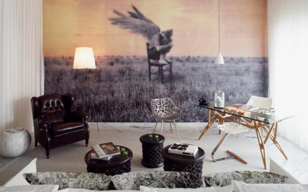 Wandgestaltung  Fototapeten sessel leder klassisch atelier