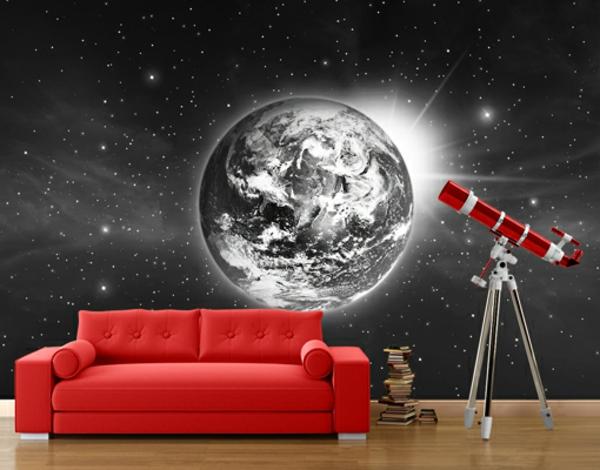 Wandgestaltung Fototapeten sofa rot erde chromatisch