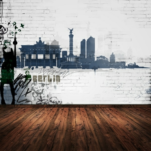 Wandgestaltung mit Fototapeten ziegel bodenbelag holz