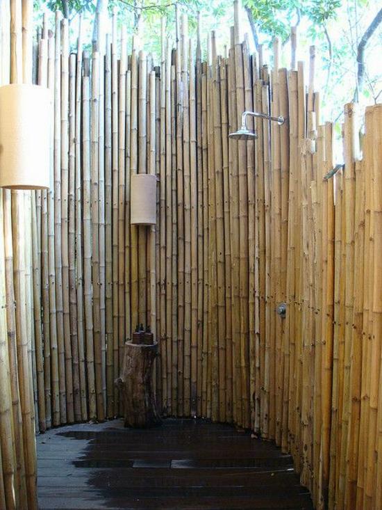 außendusche selber bauen bad im freien aus  bambus