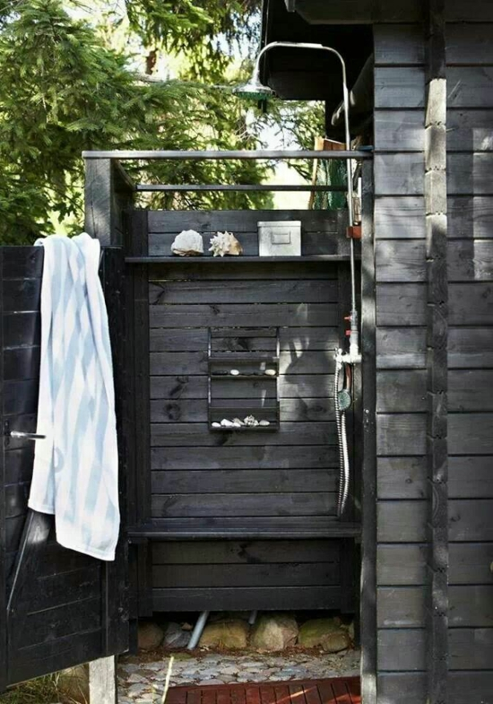 außendusche selber bauen bad im freien badezimmer im sommer