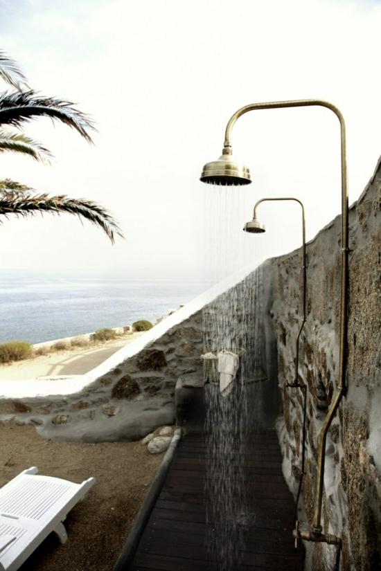 außendusche selber bauen bad im freien duschen am strand