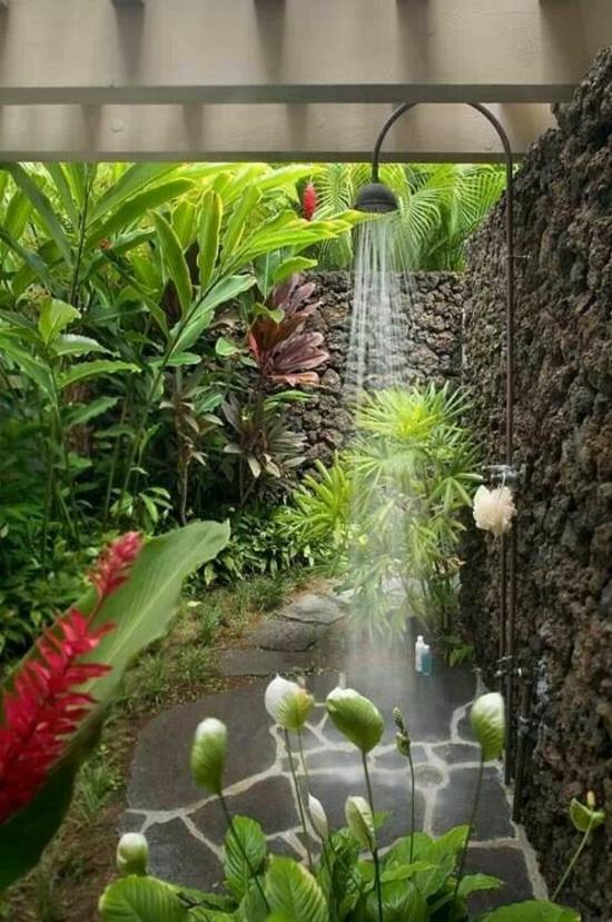 außendusche selber bauen bad im freien pflanzen