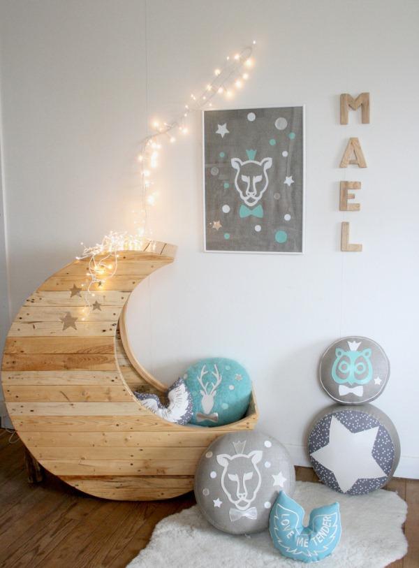 Great Babybett Mond Holz Basteln Idee Mrchenhaft With Basteln Fr Babyzimmer. Amazing Ideas