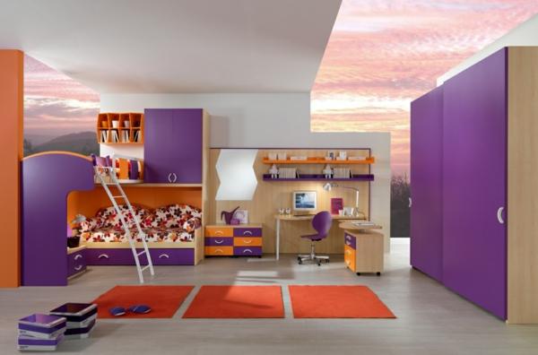 cool frisch farben kinderzimmer mädchen hochbett orange teppiche