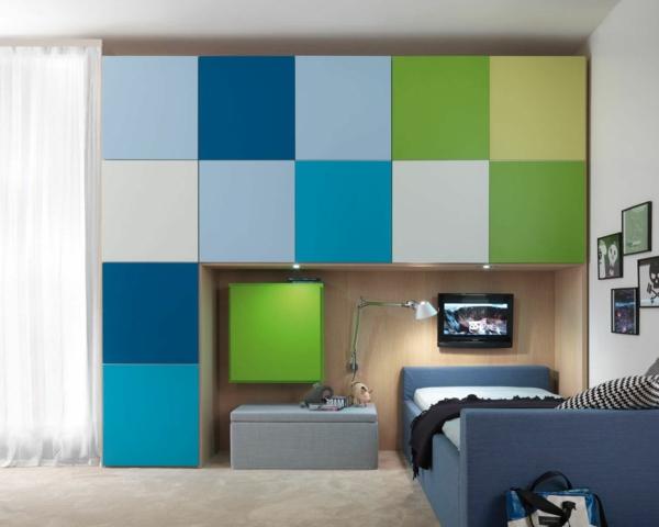 cool kinderzimmer einrichtung grün blau farben modular kleiderschrank