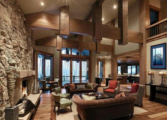 Coole Einrichtungsideen Holzeinrichtung Steinwand Massivholz Alte Holzbalken