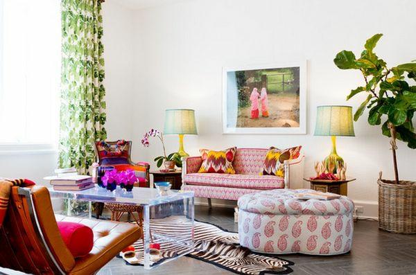 couchtisch aus acrylglas wohnzimmer zebramuster modern zimmerpflanze