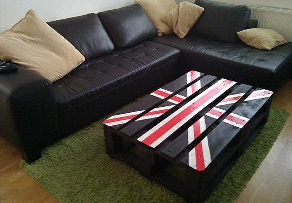 couchtisch aus europaletten wohnzimmer flag gestrichen