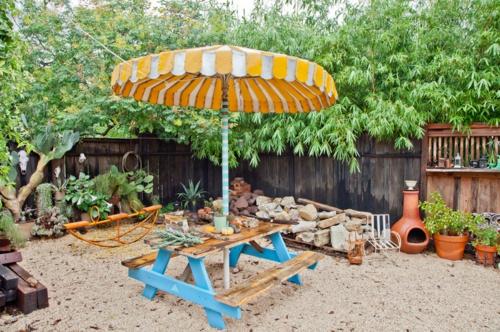erfolgreiche Gartengestaltung sonnenschirm gelb sitzecke