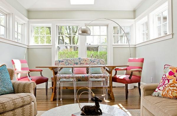 esszimmer esstisch mit stühlen akryl stühle bogenlampe