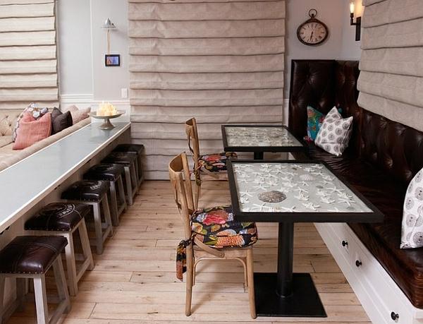 esszimmer esstisch mit stühlen akryl vintage auflagen