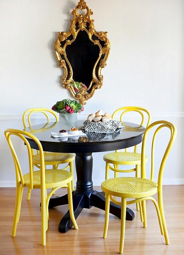 esszimmer esstisch stühle gelb lackiert schwarz tisch