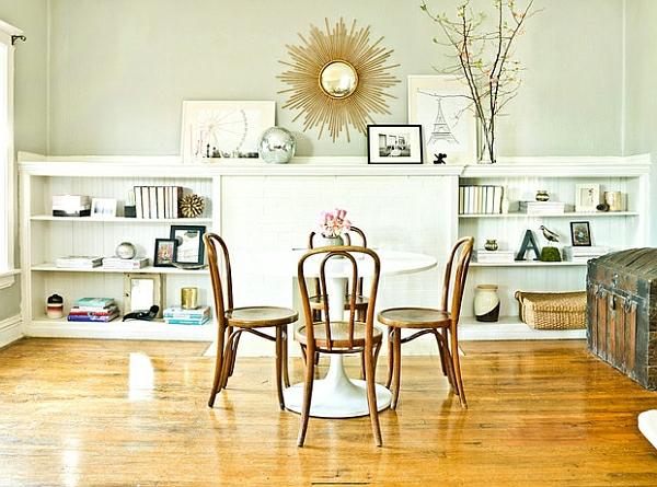 esszimmer esstisch mit stühlen holz rustikal modern kombiniert