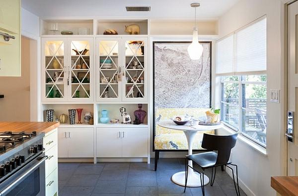 esszimmer esstisch mit stühlen küchenschrank