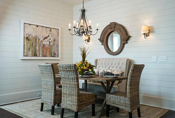 esszimmer esstisch stühle rattan stühle sofa wandspiegel