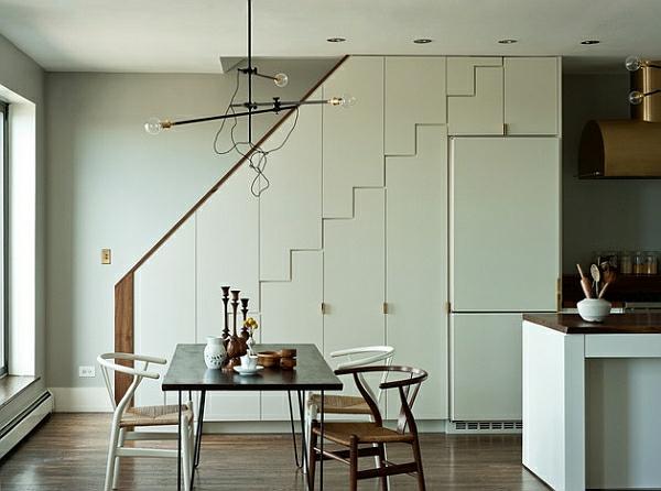 esszimmer esstisch treppe hängelampen
