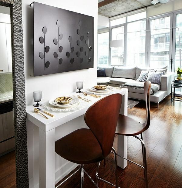 esszimmer esstisch stühle wandgestaltung sofa bar