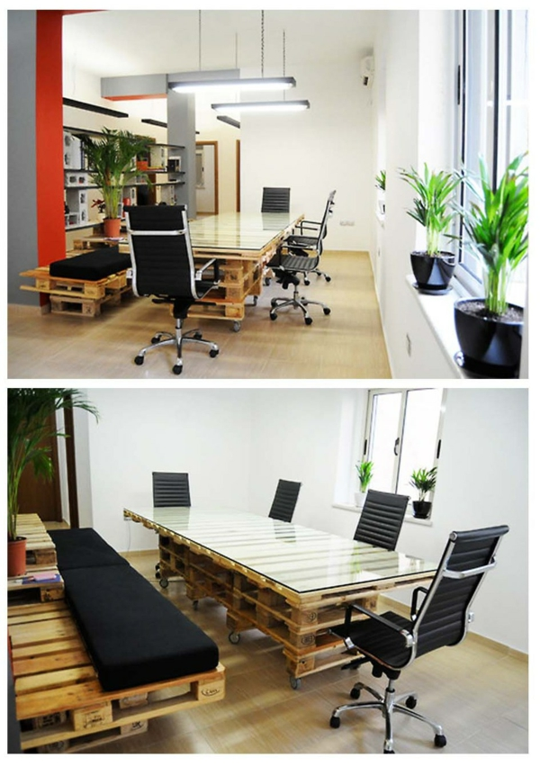 europaletten holz paletten möbel bastelideen DIY cool modern tisch stühle büro