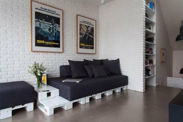 wohnzimmer paletten:europaletten holz paletten möbel bastelideen DIY cool sitzecke urban