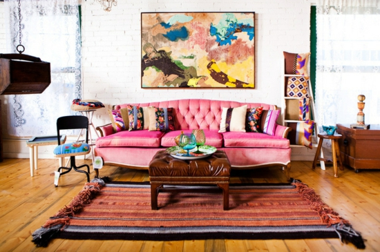 farbgestaltung und bunte wohnideen rosa pink wohnzimmer