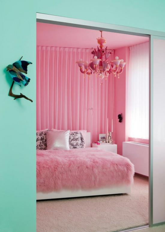 farbgestaltung und bunte wohnideen rosa wandfarbe schlafzimmer türkis grün
