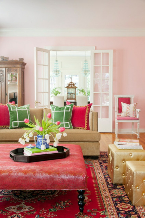 farbgestaltung und bunte wohnideen rosa farbnuancen rot gold farbideen